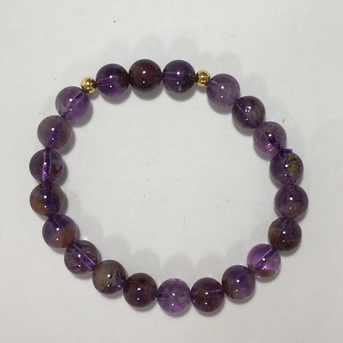 Cacoxenite in Amethyst 8mm