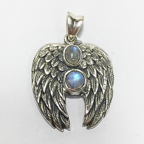 Archangel Haniel double stone wings pendant