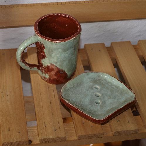 Badezimmer Set   Braun/beige Badezimmer Set mit Muster - Keramik