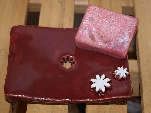 Keramik Seifenschale mit Handgemach.Seife