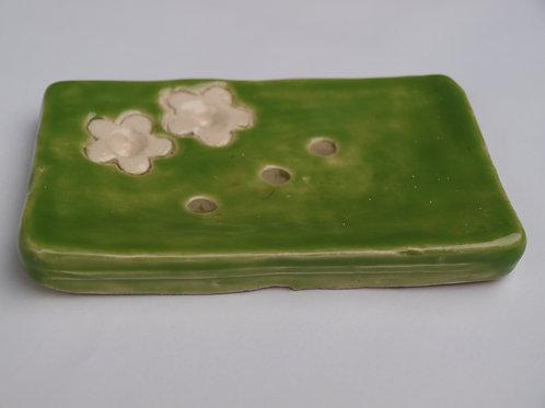 Seifenschale Set- mit Zahnbürste Hallter.  Glasur - grün und Weiß