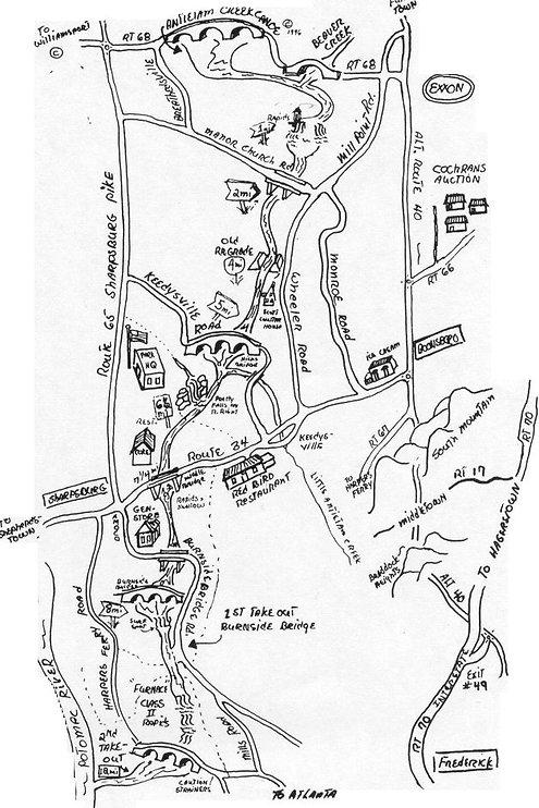 Paddlers Map of Antietam Creek Battlefield