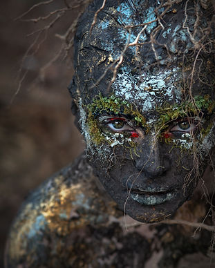 Element earth. The girl in the image of the earth. Fantasy mystical makeup for the image o