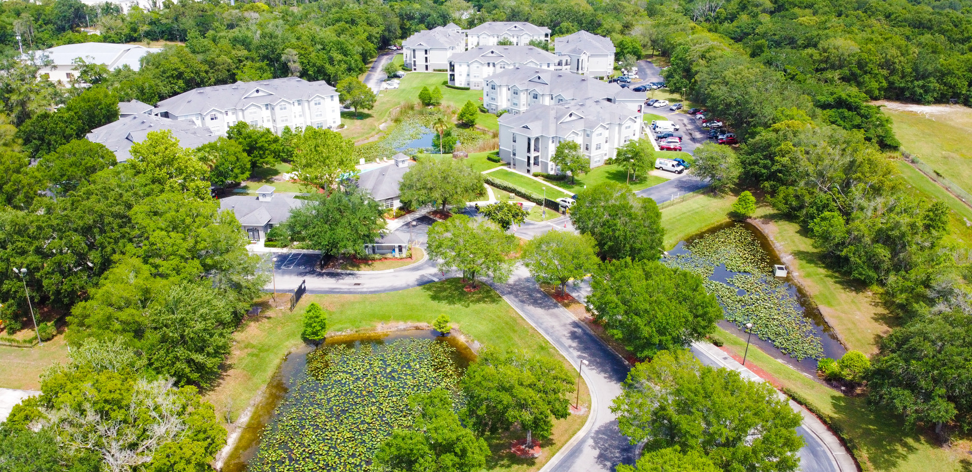 Aerial photograph of apartment complex