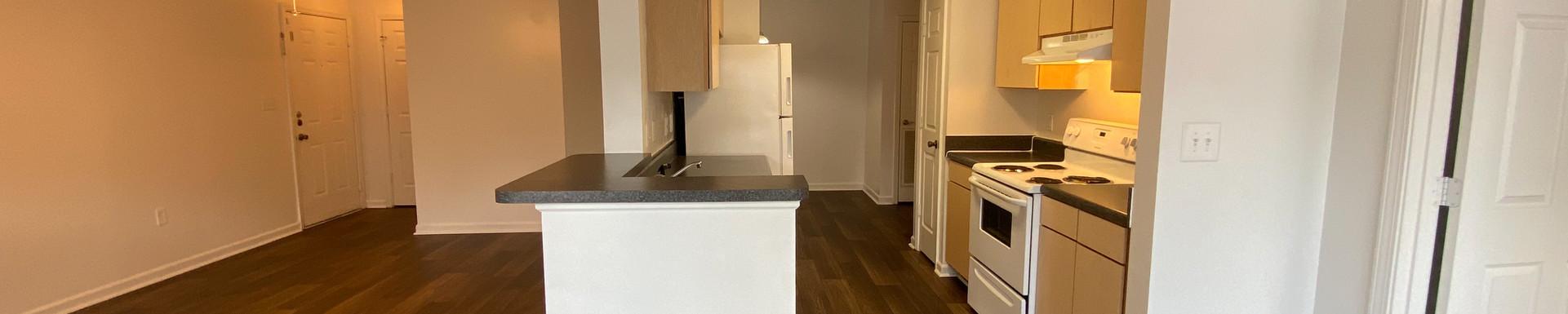 Interior Living Room + Kitchen