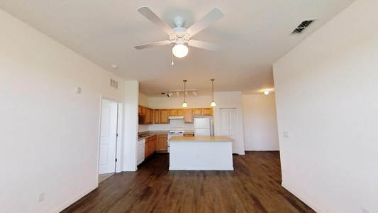 Interior photo of kitchen from living room