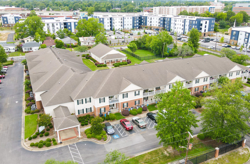 Aerial photo of apartments