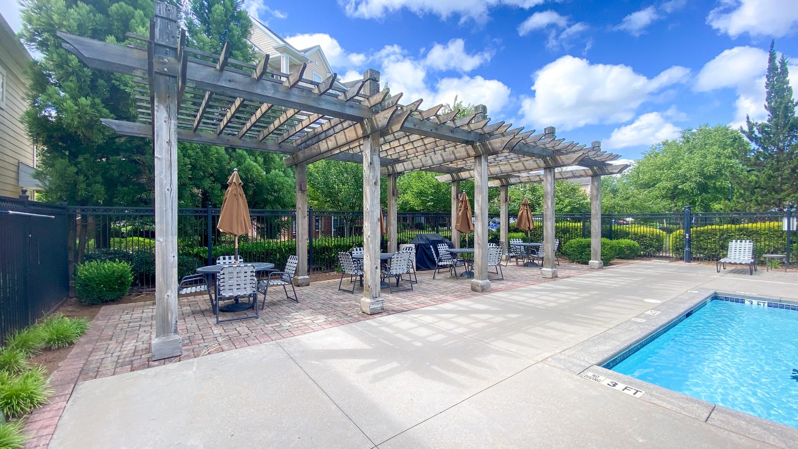Exterior trellis and pool