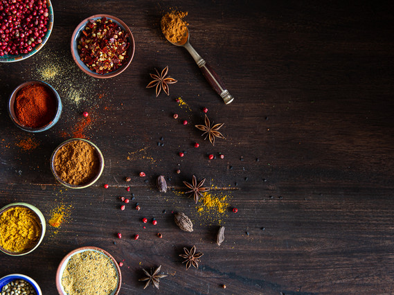 Variety of Spices on a brown table