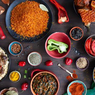 Nigerian dishes from Toyin restaurant