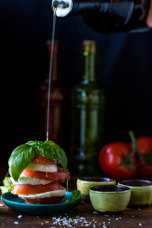 Food photography - capturing motion. Caprese salad.
