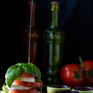 Food photography - capturing motion. Caprese salad.
