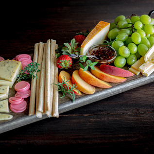 Food photography of a beautiful cheese platter