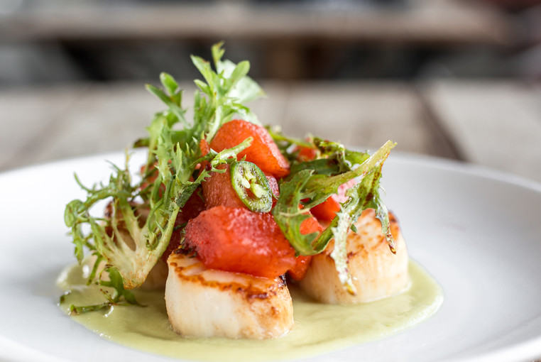 Close up restaurant photography of scallop entree