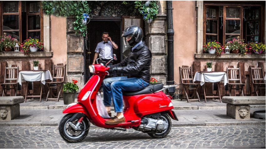 Vespa on the streets of Warsaw