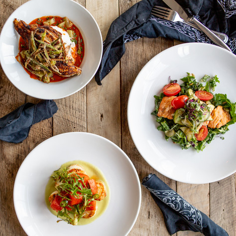 Food photography of seasonal menu entrees