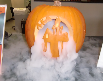 Dry Ice Smoking Halloween Pumpkin