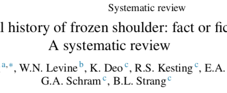 Does Frozen Shoulder get better naturally in a specific time frame? This systematic review suggests