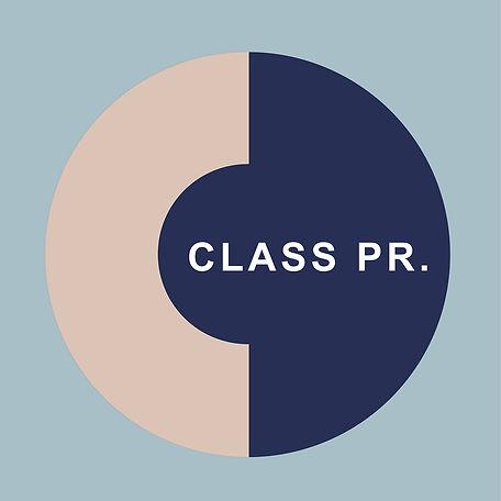 CLASS PR LOGO WITH BLUE BACKGROUND HI WE