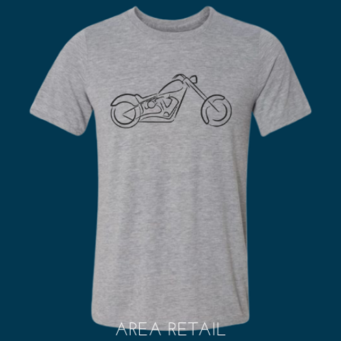 Men's Basic Lightweight T-Shirt: Motorcycle Sketch