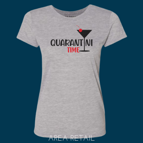 Women's Basic Fitted Lightweight T: Quarantini Time