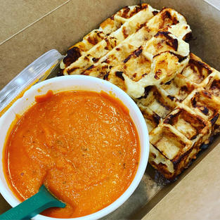 Grilled Cheese Waffle & Tomato Soup