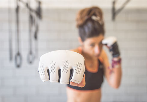 fighter woman fist close up. straight fo