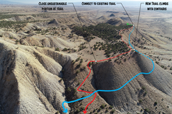 Trail re-route shown over drone photo
