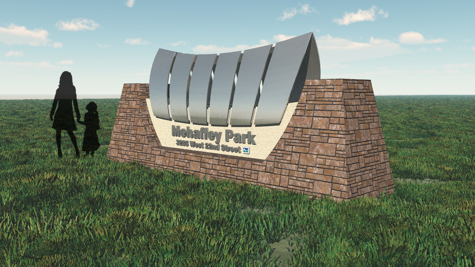 3D rendering of entry sign