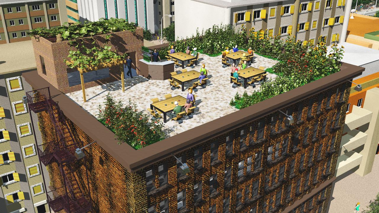 3D rendering; rooftop cafe/garden