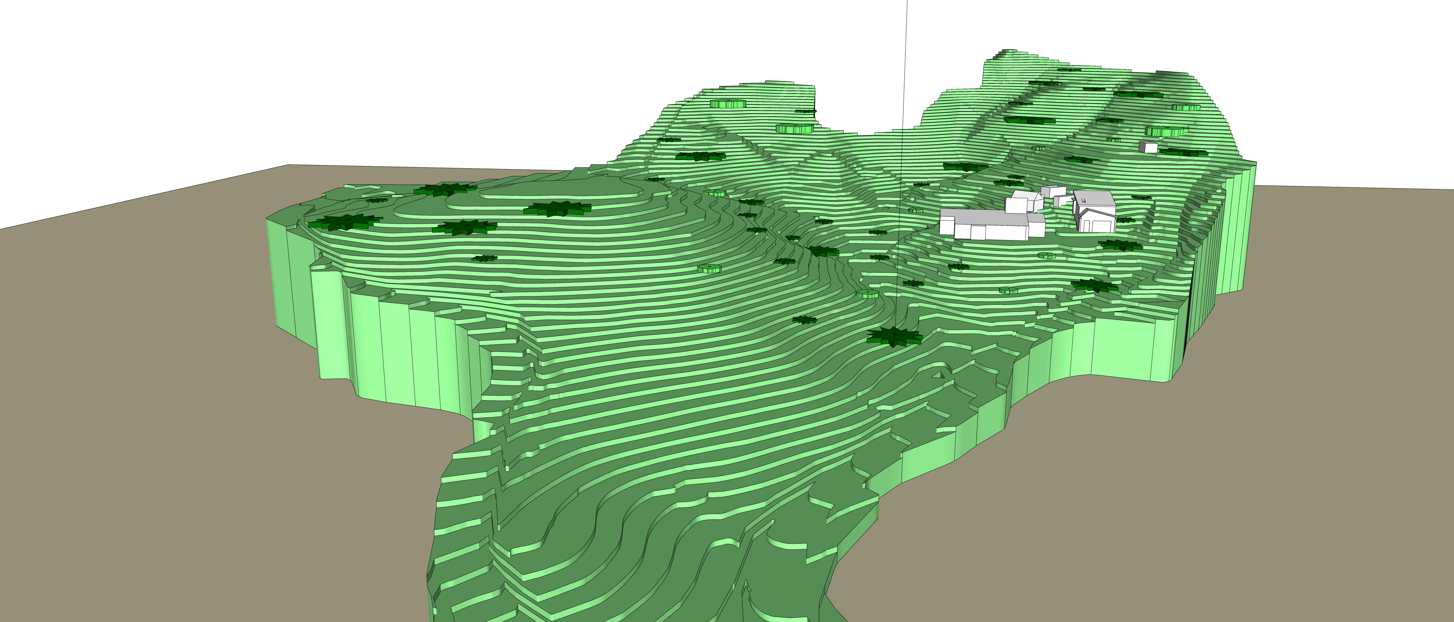 Stepped terrain 3D model