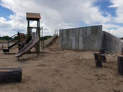 Playground/climbing wall being built