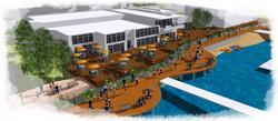 3D rendering of lake boardwalk