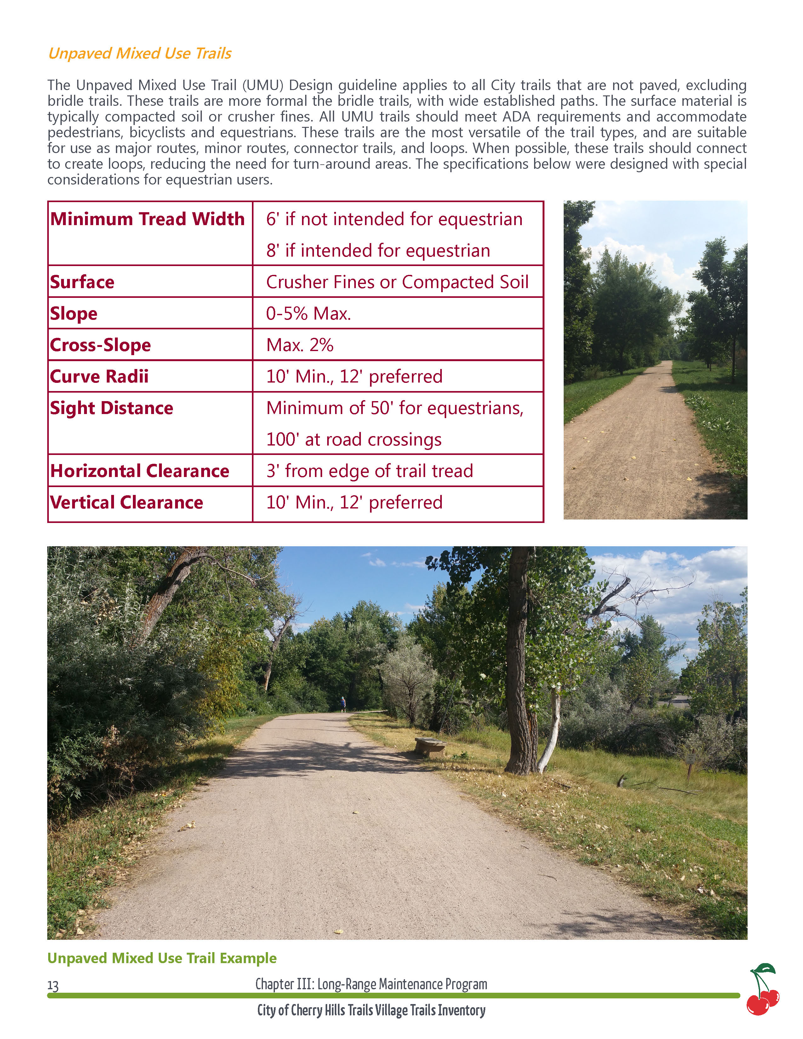 Trail master plan recommendations