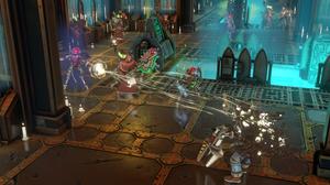 Sicarian Infiltrator shoots at a Heretek Servitor