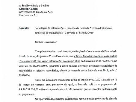 Bancada pede que maquinário adquirido pelo governo entre em operação nos municípios