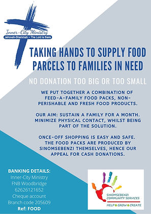 taking hand to provide food parcels to f