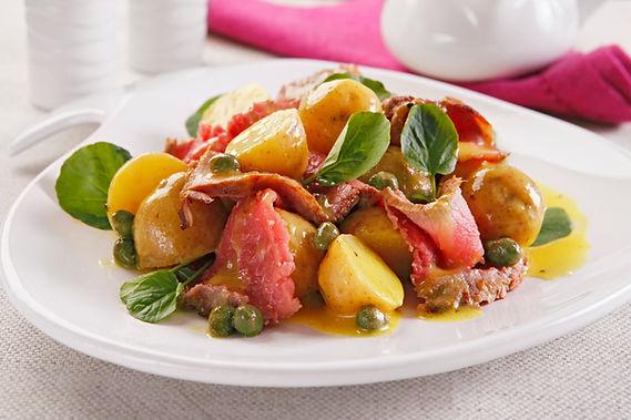 salada batata carpaccio manjericão azeite ervilha