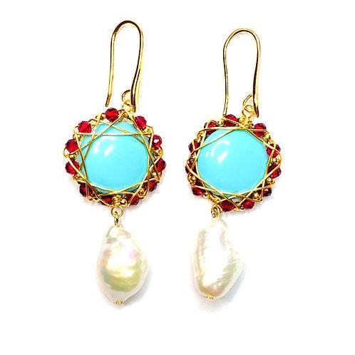 Art. 209 Orecchini perle turchese