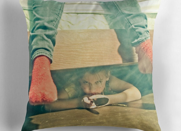 Creepy Girl w/ Knife Under Bed Throw Pillow