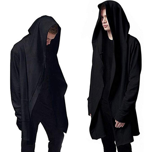 eae2ce52f Mens Stylish Sweatshirt Long Hoodies Cardigan Black Cloak Outerwear