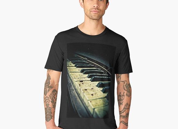 Creepy Old Piano Keys w/ Spider Web T Shirt Men's