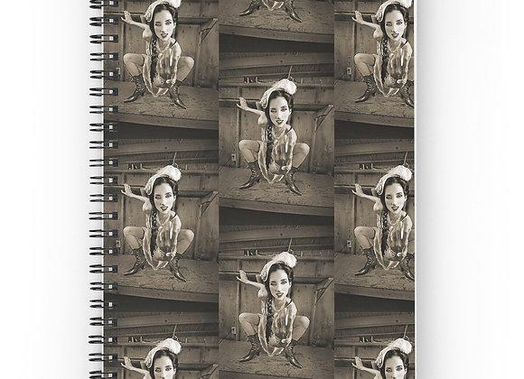 Steampunk Sepia Victorian Girl Spiral Notebook