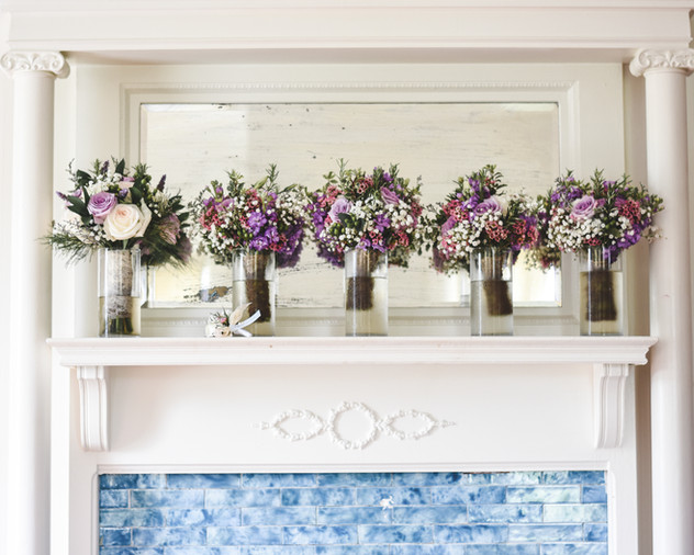 bridal flowers lined up