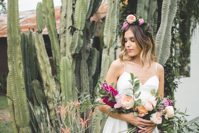 bride with cactus