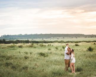 family in a field