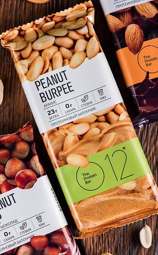 Вафельный протеиновый батончик О12 арахис + шоколад 50 гр.