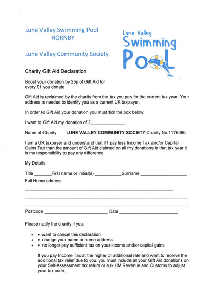 LVCS - Gift Aid Form