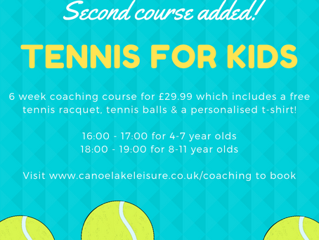 Second 'Tennis for Kids' course added!