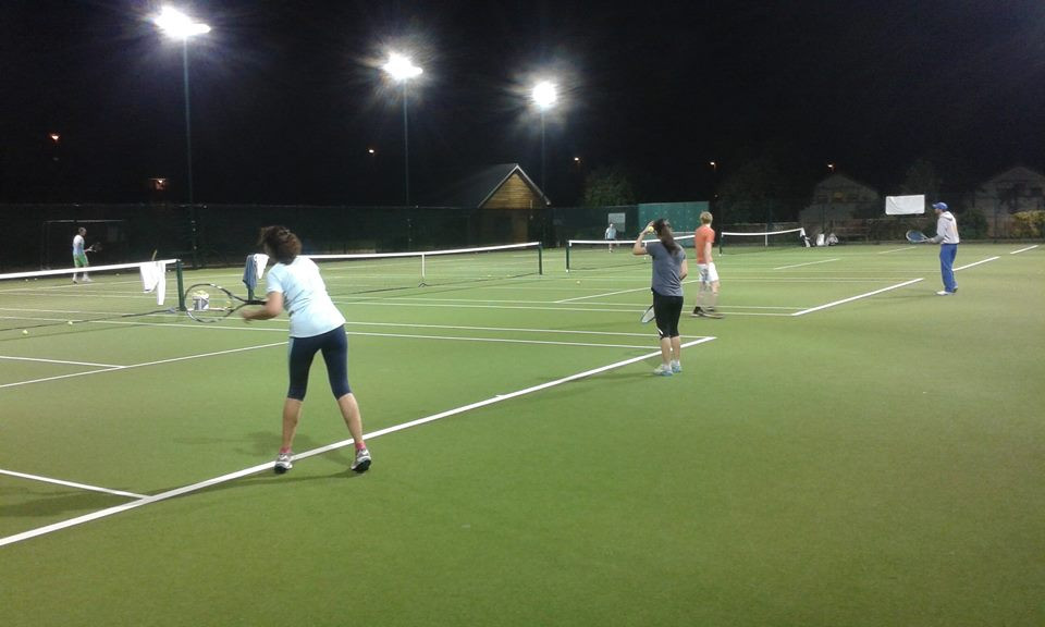 Artificial grass courts under floodlight